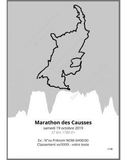 poster marathon des causses - trail - gris